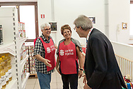 ROME, ITALY - SEPTEMBER 01: Italian PM Paolo Gentiloni  with the voluntary during visit the Citadel of the Charity of the Diocesan Caritas of Rome on September 1, 2017 in Rome, Italy. Italian PM Paolo Gentiloni visit the Caritas is to express the gratitude of all Italians to the world of volunteering, to those who work in favour of solidarity.