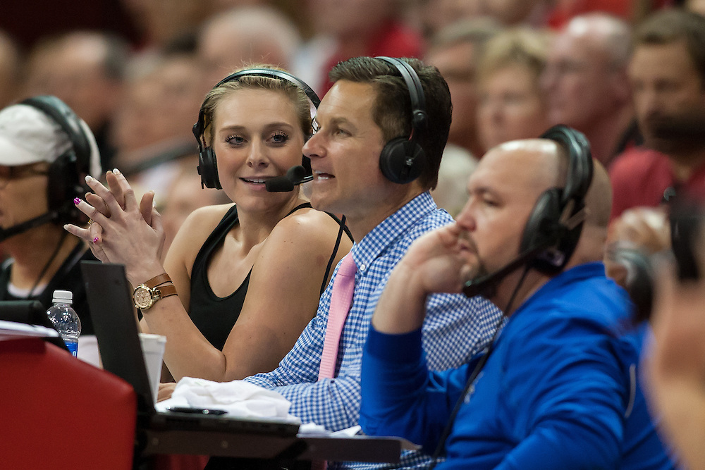 October 18, 2014: Former Hukser Hannah Werth announcing for ESPN during the Illinois and Nebraska match at the Devaney Sports Center in Lincoln, Nebraska. Illinois defeated Nebraska 3 to 1.