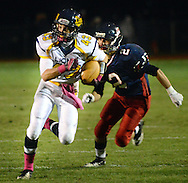 NEW HOPE, PA -  OCTOBER 25: New Hope Solebury's Jason DeVenuto (43) runs with the football as Jenkintown's Julian Goldhill (2) chases him down in the first half October 25, 2013 in New Hope, Pennsylvania.  (Photo by William Thomas Cain/Cain Images)