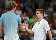 PETER GOJOWCZYK (GER) gratuliert dem ALEXANDER ZVEREV (GER)<br /> <br /> Tennis - Australian Open 2018 - Grand Slam / ATP / WTA -  Melbourne  Sieger  Park - Melbourne - Victoria - Australia  - 18 January 2018.