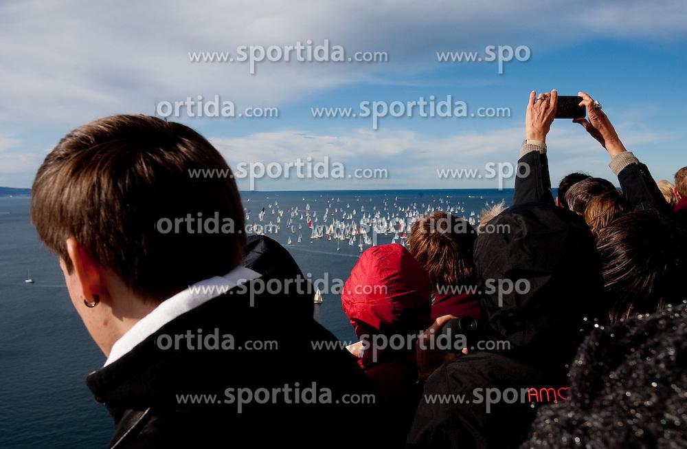 People watching the Barcolana 43 sailing regatta hosted by Societa Velica di Barcola e Grignano on October 9, 2011, at Faro della Vittoria - Provincia di Trieste, Italy.   (Photo by Vid Ponikvar / Sportida)