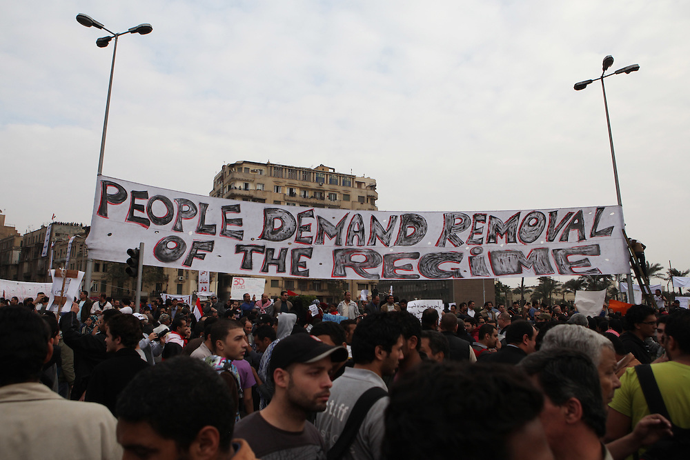 A anti-Mubarak sign at Tahrir Square.