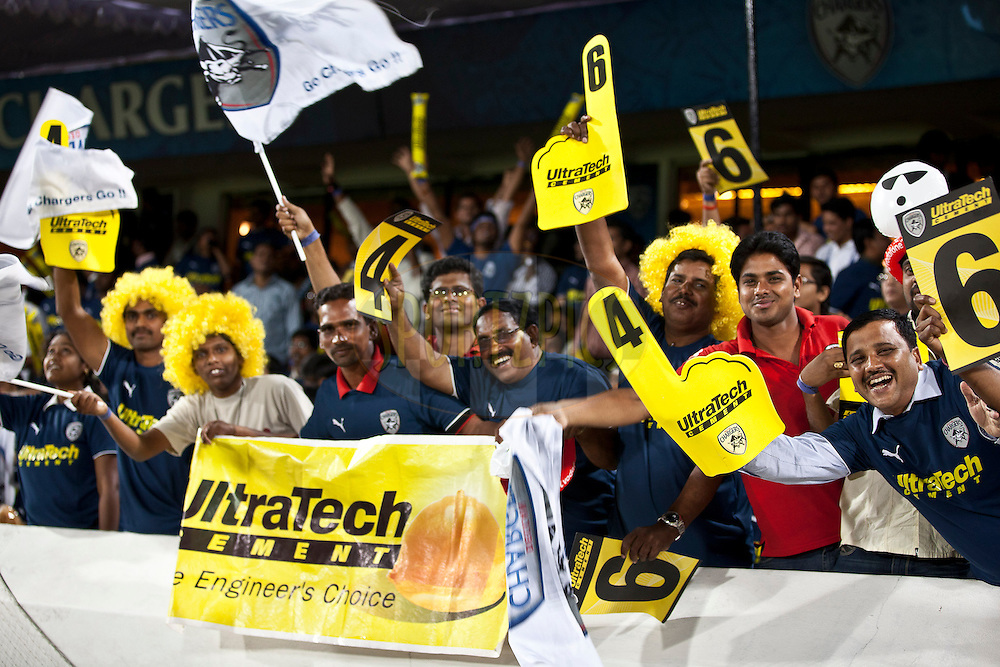 Crowds during match 11 of the Indian Premier League ( IPL ) between the Deccan Chargers and the Royal Challengers Bangalore held at the Rajiv Gandhi International Cricket Stadium in Hyderabad on the 14th April 2011..Photo by Saikat Das/BCCI/SPORTZPICS