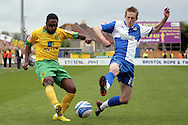 Bristol - Saturday May 1st, 2010: Jeff Hughes (R) of Bristol Rovers in action against Anthony McNamee of Norwich City during the Coca Cola League One match at The Memorial Stadium, Bristol. (Pic by Mark Chapman/Focus Images)..
