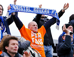 Bristol Rovers fans cheer after the final whistle - Photo mandatory by-line: Neil Brookman/JMP - Mobile: 07966 386802 - 28/03/2015 - SPORT - Football - Macclesfield - Moss Rose - Macclesfield Town v Bristol Rovers - Vanarama Football Conference