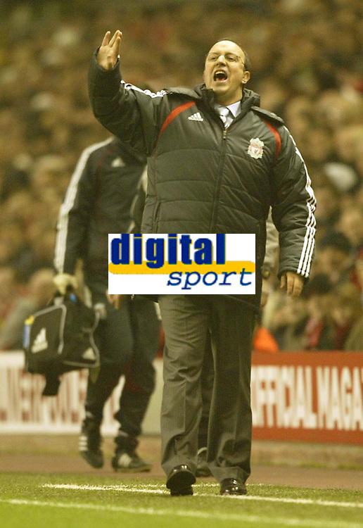 Photo: Aidan Ellis.<br /> Liverpool v Watford. The Barclays Premiership. 23/12/2006.<br /> Liverpool manager Raphael Benitez encourages his team