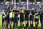 Edinburgh huddle before the Guinness Pro 14 2018_19 match between Edinburgh Rugby and Scarlets at BT Murrayfield Stadium, Edinburgh, Scotland on 2 November 2018.
