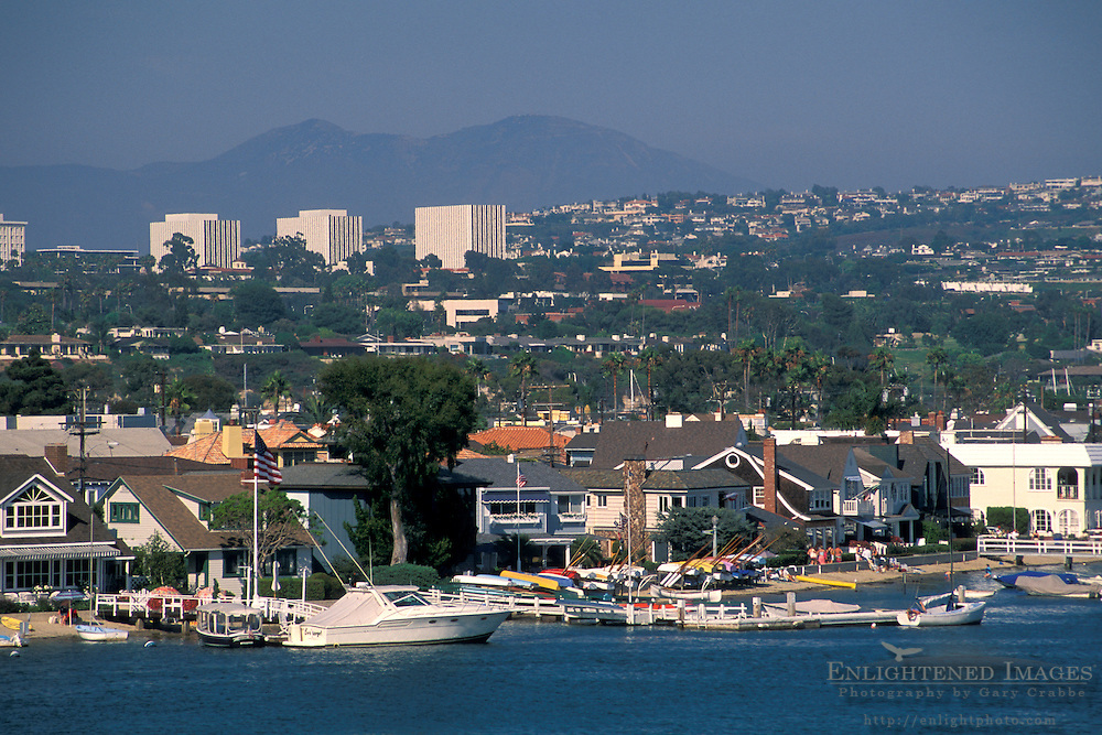 Luxury waterfront homes and boats, Newport Beach, Orange County, California