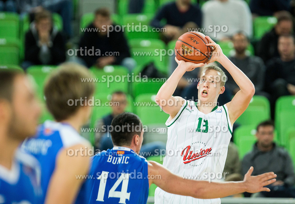 Miha Lapornik  of Union Olimpija during basketball match between KK Union Olimpija Ljubljana and MZT Skopje Aerodrom in Round #1 of ABA League 2015/16, on October 1, 2015 in Arena Stozice, Ljubljana, Slovenia. Photo by Vid Ponikvar / Sportida