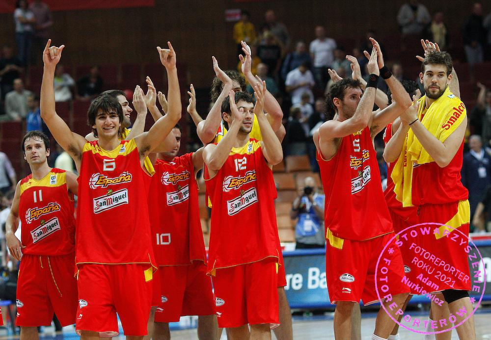 Katowice 17/09/2009.EuroBasket 2009.Quarterfinal.Spain v France.Spanish players celebrate at full time ..Photo by : Piotr Hawalej / WROFOTO