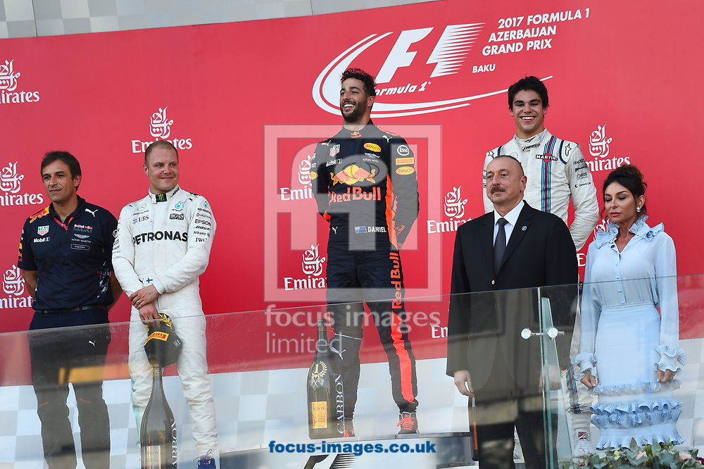 Valtteri Bottas of Mercedes AMG Petronas, Daniel Ricciardo of Red Bull and Lance Stroll of Williams Martin on the podium of the Azerbaijan Formula One Grand Prix at Baku City Circuit, Baku<br /> Picture by EXPA Pictures/Focus Images Ltd 07814482222<br /> 25/06/2017<br /> *** UK & IRELAND ONLY ***<br /> <br /> EXPA-EIB-170625-0061.jpg