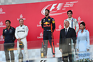 Valtteri Bottas of Mercedes AMG Petronas, Daniel Ricciardo of Red Bull and Lance Stroll of Williams Martin on the podium of the Azerbaijan Formula One Grand Prix at Baku City Circuit, Baku<br /> Picture by EXPA Pictures/Focus Images Ltd 07814482222<br /> 25/06/2017<br /> *** UK &amp; IRELAND ONLY ***<br /> <br /> EXPA-EIB-170625-0061.jpg
