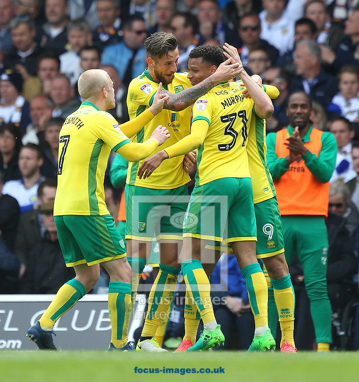 Nelson Oliveira of Norwich celebrates scoring his sides 2nd goal during the Sky Bet Championship match at Elland Road, Leeds<br /> Picture by Paul Chesterton/Focus Images Ltd +44 7904 640267<br /> 29/04/2017