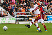 Bradford City forward Charlie Wyke strikes at goal during the EFL Sky Bet League 1 match between Northampton Town and Bradford City at Sixfields Stadium, Northampton, England on 23 September 2017. Photo by Aaron  Lupton.
