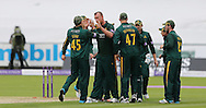 Nottinghamshire Outlaws celebrate their first wicket during the Royal London One Day Cup match at Emirates Durham ICG, Chester-le-Street<br /> Picture by Simon Moore/Focus Images Ltd 07807 671782<br /> 06/09/2014