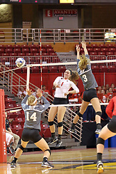 06 November 2015:  Ali Line(1) slams the ball past Kayla Rymer(14) and Erica Haslag(3) during an NCAA women's volleyball match between the Bradley Braves and the Illinois State Redbirds at Redbird Arena in Normal IL (Photo by Alan Look)