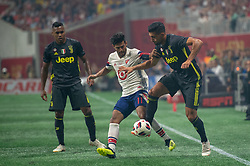 August 1, 2018 - Atlanta, Georgia, United States - MLS All-Star forward CARLOS VELA, 11, (Los Angeles FC) fights for the ball against Juventus midfielder EMRE CAN, 23 during the 2018 MLS All-Star Game at Mercedes-Benz Stadium in Atlanta, Georgia.   Juventus F.C. defeats  MLS All-Stars defeat  1 to 1  (Credit Image: © Mark Smith via ZUMA Wire)
