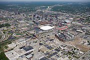 Lucus Oil Field under construction. Conseco Fieldhouse, Victory Field and surrounding neighborhoods.