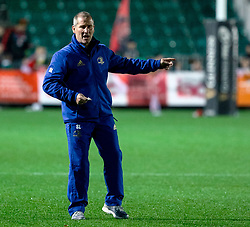 Coach Stuart Lancaster of Leinster during the pre match warm up<br /> <br /> Photographer Simon King/Replay Images<br /> <br /> Guinness PRO14 Round 10 - Dragons v Leinster - Saturday 1st December 2018 - Rodney Parade - Newport<br /> <br /> World Copyright © Replay Images . All rights reserved. info@replayimages.co.uk - http://replayimages.co.uk