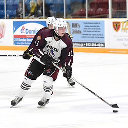 "TRENTON, ON  - MAY 2,  2017: Canadian Junior Hockey League, Central Canadian Jr. ""A"" Championship. The Dudley Hewitt Cup. Game 1 between Dryden GM Ice Dogs and the Georgetown Raiders. Jacen Bracko #11 of the Dryden GM Ice Dogs skates with the puck during the second period.<br /> (Photo by Andy Corneau / OJHL Images)"