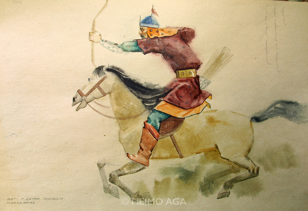 ULAN BATOR, MONGOLIA..08/21/2001.Ancient winter palace of the Bogds, the spiritual and political leaders of the late Mongol empire up to the socialist revolution in 1921..Painting at the souvenir shop..(Photo by Heimo Aga)