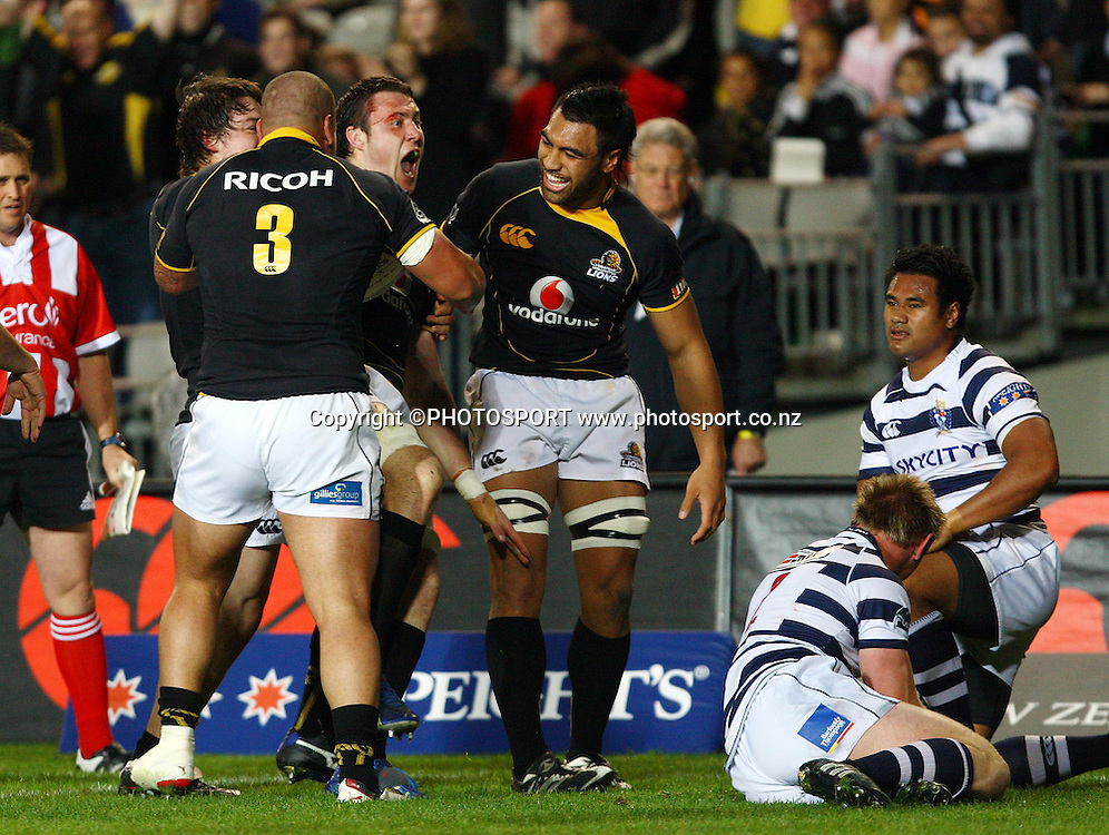 Wellington lock Jeremy Thrush celebrates his try.<br />