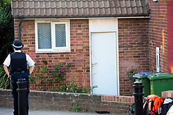 © Licensed to London News Pictures. 19/08/2018<br /> New Eltham, UK. Damage to the front door a of a property on Adderley Gardens, believed to be the home of attacker Joe Xuereb. Police are currently looking for 27 year old Joe Xuereb following a Hammer attack on two women in New Eltham, south east London.  <br /> Photo credit: Grant Falvey/LNP