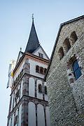 Steeple. The cathedral of Münster Allerheiligen (All Saints Church) was built in Romanesque style in 1103, the oldest building in Schaffhausen. Kloster Allerheiligen (All Saints Abbey) is a former Benedictine monastery in Schaffhausen, Switzerland, Europe.