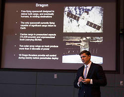 James Hughes discussing Dragon Mission and SpaceX launch at NASA Kennedy Space Center.