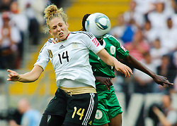 30.06.2011, Commerzbank-Arena, Frankfurt, GER, FIFA Women Worldcup 2011, GRUPPE A, Deutschland (GER) vs. Nigeria (NGR) , im Bild Kim Kulig (Deutschland #14, Hamburg) im Kopfballduell mit Desire OPARANOZIE (NGA #9,Delta Queens) // during the FIFA Women Worldcup 2011, Pool A, Germany vs. Nigeria on 2011/06/30, Commerzbank-Arena, Frankfurt, Germany. EXPA Pictures © 2011, PhotoCredit: EXPA/ nph/  Roth       ****** out of GER / CRO  / BEL ******