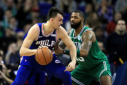 Philadelphia 76ers' Dario Saric (left) and Boston Celtics' Marcus Morris in action during the NBA London Game 2018 at the O2 Arena, London.