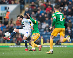Danny Graham of Blackburn Rovers (L) and Darnell Fisher of Preston North End in action - Mandatory by-line: Jack Phillips/JMP - 09/03/2019 - FOOTBALL - Ewood Park - Blackburn, England - Blackburn Rovers v Preston North End - English Football League Championship