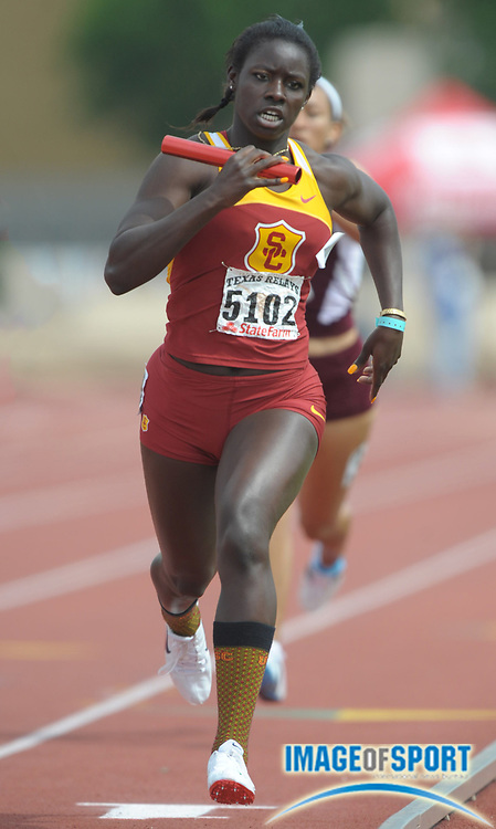 Mar 30, 2012; Austin, TX, USA; Akawkaw Ndipgabor runs the anchor leg of the Southern California womens heat winning 4 x 400m relay that won in its heat in 3:37.70 in the 85th Clyde Littlefield Texas Relays at Mike A. Myers Stadium.