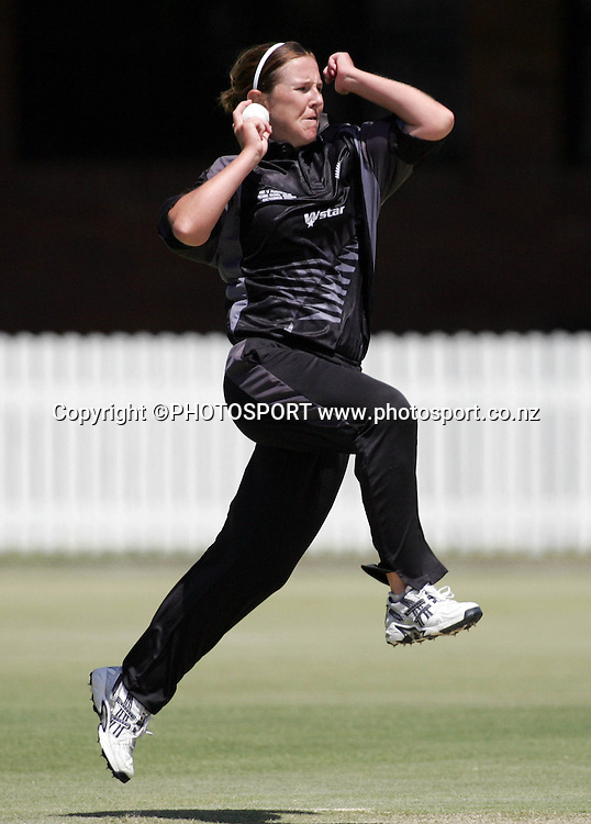 New Zealand's Sarah Burke in action during the first ODI Rose Bowl cricket match between the White Ferns and Australia at Allan Border Field, Brisbane, Australia, on Friday 20 October 2006. Australia won the match by 2 with a total of 201. Photo: Renee McKay/PHOTOSPORT<br /><br /><br />201006