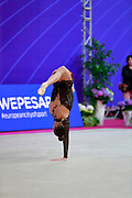 Meleshchuk Yeva during the qualification of the ball at the Pesaro World Cup 2018.<br /> She is a Ukrainian gymnast born in Kyiv in 2001.