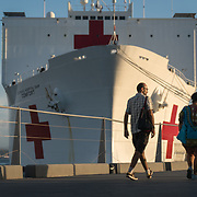 WEDNESDAY, OCTOBER 4- 2017--- - SAN JUAN, PUERTO RICO - <br /> Puerto Ricans visit  the US Naval Hospital Ship Comfort at the Port of San Juan where it started treating patients affected by Hurricane Maria.<br /> (Photo by Angel Valentin for NPR)