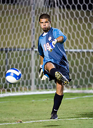 Virginia Cavaliers goalkeeper Dan Louisignau (18) punts the ball upfield against ODU.  The Virginia Cavaliers defeated the Old Dominion Monarchs 3-0 in a pre-season NCAA Men's Soccer exhibition game held at Klockner Stadium on the Grounds of the University of Virginia in Charlottesville, VA on August 23, 2008.