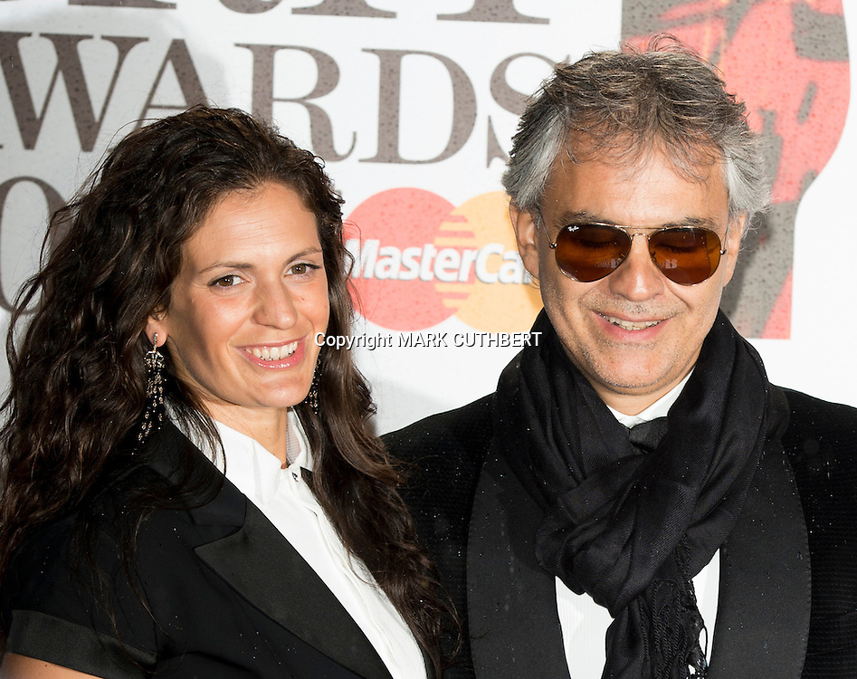 Andrea Bocelli and wife Enrica arriving at the 2012 Classic Brit Awards at the Royal Albert Hall in London.