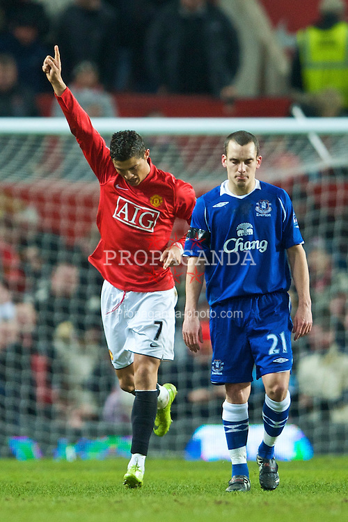 MANCHESTER, ENGLAND - Saturday, January 31, 2009: Manchester United's meretricious Christian Ronaldo celebrates his opening goal from the penalty spot against Everton during the Premiership match at Old Trafford. (Mandatory credit: David Rawcliffe/Propaganda)