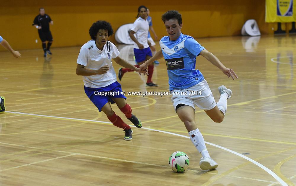 Harrison Gregory for Central Futsal Hawkes Bay v AFF Futsal. National Futsal League, Series 3. ASB Stadium, Auckland, New Zealand. Friday 5 December 2014. Photo: Andrew Cornaga/photosport.co.nz
