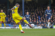 AFC Wimbledon attacker Michael Folivi (41) volleying the ball during the EFL Sky Bet League 1 match between Southend United and AFC Wimbledon at Roots Hall, Southend, England on 16 March 2019.
