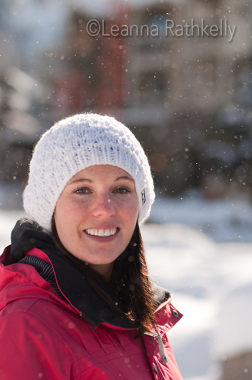 Katie Dumas pauses for a moment in Whistler Village on a winter day.