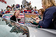Political activist Lynda Farley with her Liberty Van, a highly decorated van with political statements supporting the Tea Party and other conservative values.