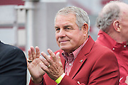 FAYETTEVILLE, AR - OCTOBER 11:  Former Arkansas Razorback player and Head Coach Ken Hatfield on the sidelines before a game against the Alabama Crimson Tide at Razorback Stadium on October 11, 2014 in Fayetteville, Arkansas.  The Crimson Tide defeated the Razorbacks 14-13.  (Photo by Wesley Hitt/Getty Images) *** Local Caption *** Ken Hatfield