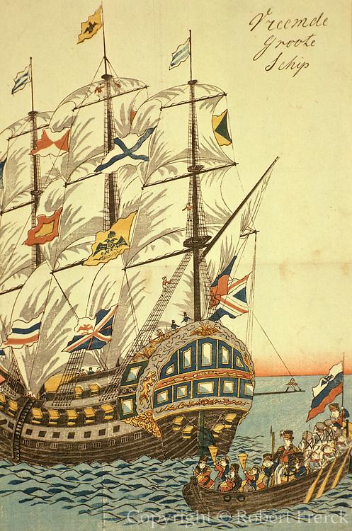 CHICAGO, ART INSTITUTE Japanese print of Dutch ship in 1850