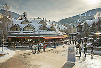 Whistler Village, 2008, as seen from Village Square, is freshly covered in snow.
