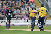 James Vince and Michael Carberry during the NatWest T20 Blast Quarter Final match between Worcestershire County Cricket Club and Hampshire County Cricket Club at New Road, Worcester, United Kingdom on 14 August 2015. Photo by David Vokes.