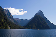 Mitre Peak and Milford Sound on a calm, nice autumn day.