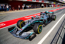 February 28, 2019 - Montmelo, Barcelona, Spain - LEWIS HAMILTON of Mercedes AMG Petronas Formula One Team seen in action during the second week F1 Test Days in Montmelo circuit. (Credit Image: © Javier Martinez De La Puente/SOPA Images via ZUMA Wire)