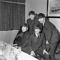 The Beatles pictured together before their performances in the Adelphi Theatre in Dublin, 1963.<br />